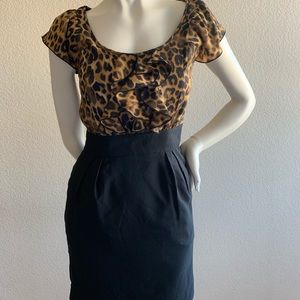 Express women's cheetah black dress sz 0